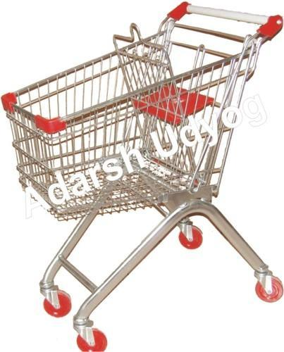 Adarsh Udyog Mild Steel Shopping Trolley with Baby Seater