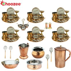 Choozee - Set of 6, Stainless Steel Copper Thali Dinner Set with Serveware and Copper Jug (72 Pcs)