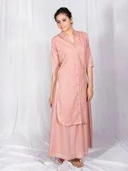 Salmon Gota Patti Skirt Dress