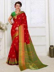 Traditional Cotton Silk Weaving Saree, 6.3 mtr