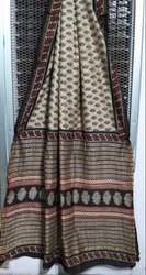 Bagru Printed Chanderi Silk Saree, With Blouse Piece, 5.5 m (separate blouse piece)