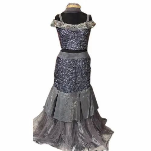 Silk Stitched Ladies Satin Lehenga With Crop Top
