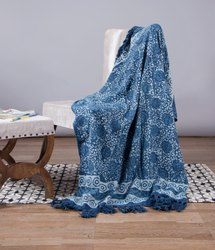 Blue Sofa Indigo Printed Cotton Throw