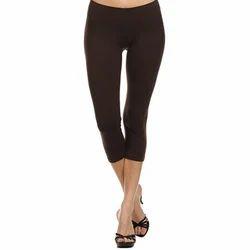 Lycra Cotton Black Ladies Capri, Size: XL & Medium