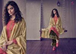 Angroop Plus Scarlet Tussar Silk Satin Embroidery Salwar Kameez