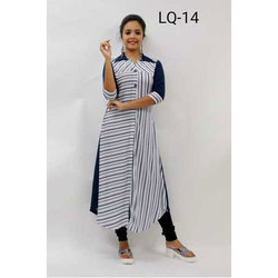 Medium And Large Striped Straight Cut Kurti