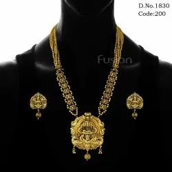 Designer Antique Temple Pendant Necklace Set