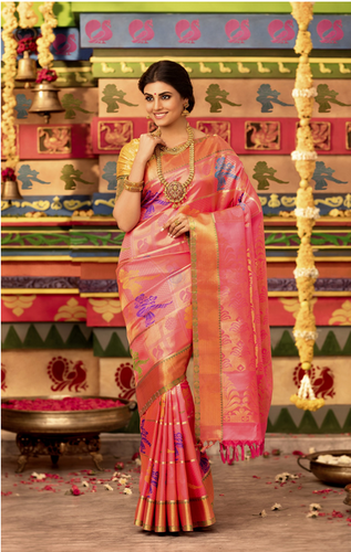 87051d52a5 Pink Vivaha Goddess Color Bridal Silk Saree, Rs 27995 /piece | ID ...