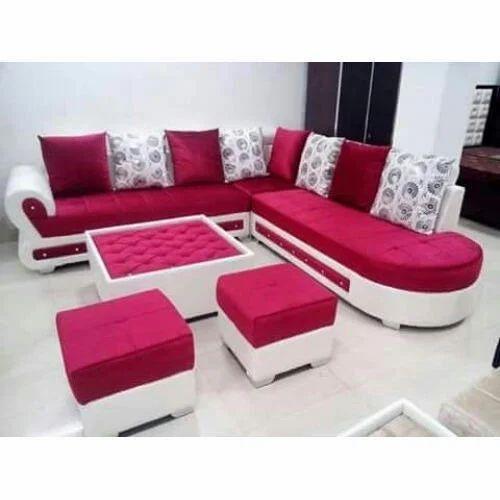 Wood 8 Seater Pink Sofa Set