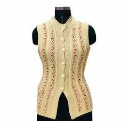 Woolen Embroidery Ladies Sleeveless Beige Top, Size: M-XL