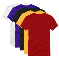 Cotton Yellow And Violet Mens Plain T Shirt