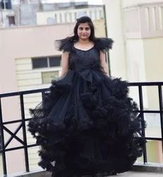 Stitch Party Wear Black Designer Gowns, Age Group :18+ Years