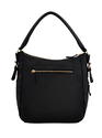 Yelloe Hobo Bag With Bottom Expandable Zipper In Black