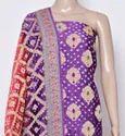Cotton Purple Bandhani Dress Material, Gsm: 100-150