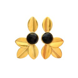 Leaf Gold Plated Gemstone Earring