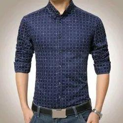 Checks Blue Men Party Wear Cotton Shirt