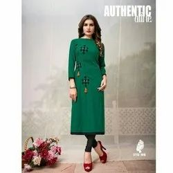 Rayon Casual Wear Green Kanchan Dress Zip Kurti, Machine wash, Size: S, M and L