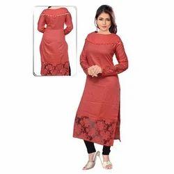Ladies Cotton Red Fancy Kurti, Size: S-XXL