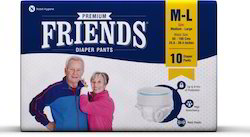 Friends Adult Pant Style Pull UPS / Diapers, Medium,10 Pcs.