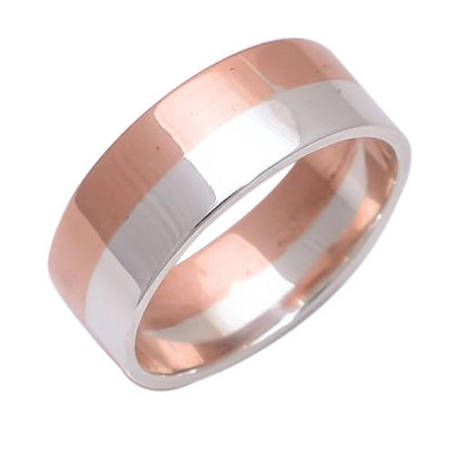 Unique Dual Metal Copper 925 Silver Band Ring