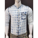 Casual Denim Chinese Collar Shirt