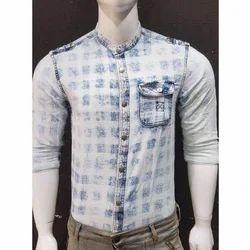Casual Denim Chinese Collar Shirt