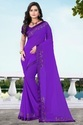 Georgette Designer Stone Work Purple Color Saree