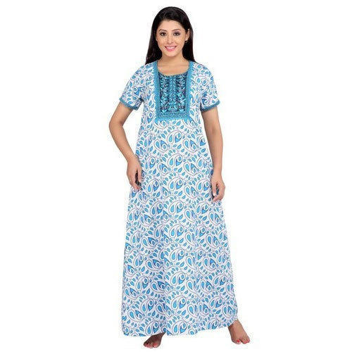 Cotton Long Women  s Half Sleeve Nightgown f97620adc