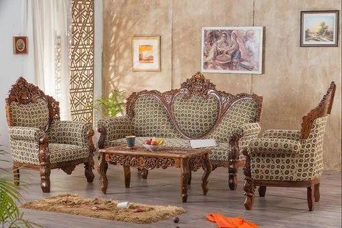 Royal Carved Teak Wood Sofa Set For Home Size Dimension 3 1 1 Rs 98000 Set Id 21663629188