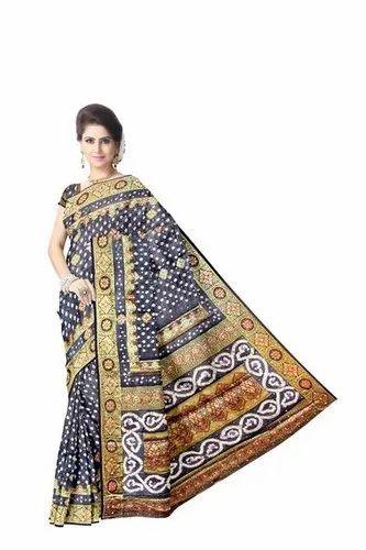 All Over Black Color Fancy Design Art Silk Bandhani Saree