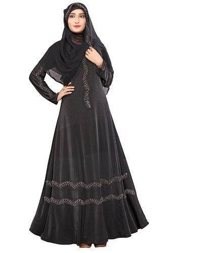 Umbrella Style Stone Work Abaya Burkha \u0026 Chiffon Hijab Scarf