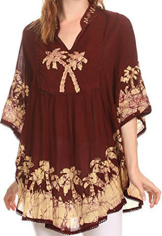 V-Neck Hand Embroidered Kaftan, Size: M