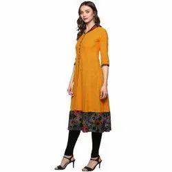 Yash Gallery Womens Cotton Slub Mustrad Floral Print Anarkali Kurta