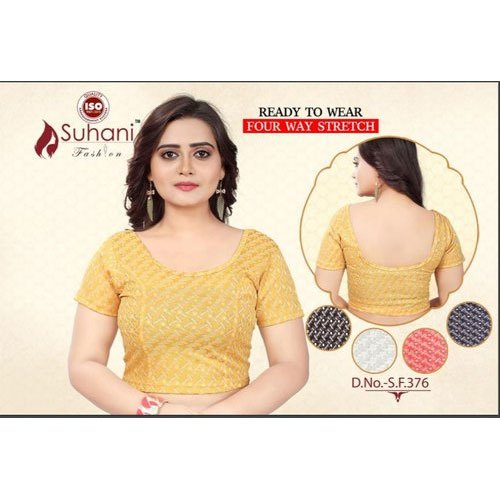 Ready To Wear Stitched Round Neck Fancy Blouse, Size: 36