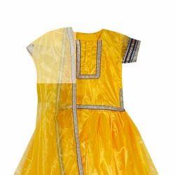 Yellow Color Kids Ghagra Choli, Size: S, M, L