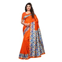 Orange Colored Poly Silk Printed Casual Wear Saree