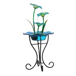 Blue Flower Glass & Metal Fountain With Stand & Motor