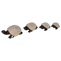 Wooden Tortoise With Pearl Work