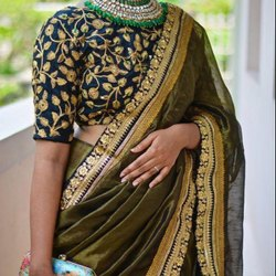 Paper Silk Saree With Banglori Silk Blouse