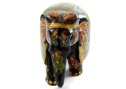Handmade Kadam Wood Elephant With Full Miniature Painting