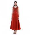 Rust Cotton Satin Hand Embroidered Gown