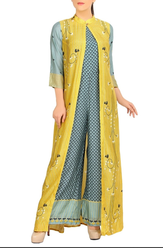Chanderi Blue Jumpsuit And Printed Jacket Rs 10500 Piece Id