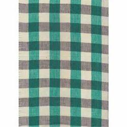 Green Linen Checks Shirts Fabric