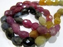 Multi Sapphire Oval Faceted Beads