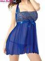 Net Sleeveless Mesmeric Blue Nighty