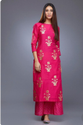 Stitched Casual Wear Indian Ethnic Designer Magenta Palzo Set