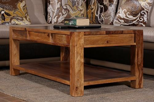 Coffee Tables   Boxy Natural Color Sheesham Wood Rectangular Coffee Table  Wholesale Sellers From Greater Noida