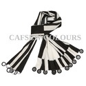 Black And White Poly Crepe Scarves