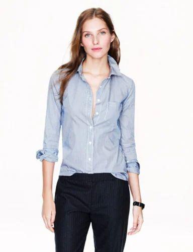 9d9aa328c46 Sky Blue Cotton Girls Solid Casual Plain Shirt
