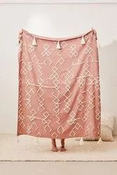 Designer Coral Bohemian Hand Tufted Throws Couch Blankets Bed Throws